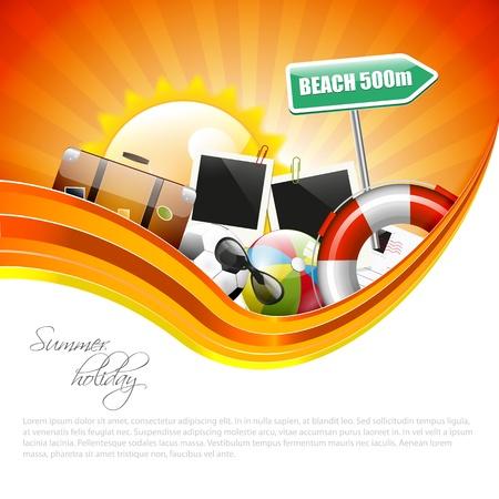여행: copyspace와 여름 휴가 포스터 일러스트