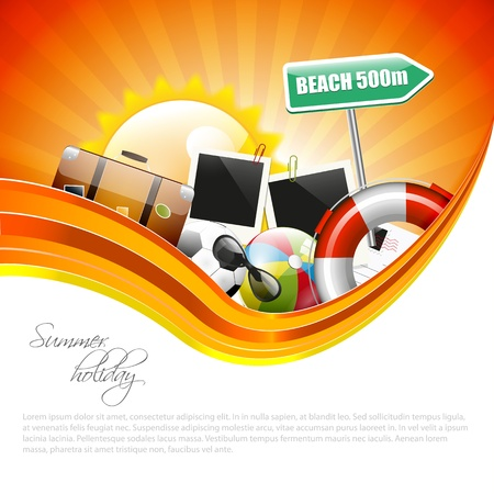 sunglasses reflection: Summer holiday poster with copyspace