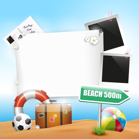 Summer holiday - background with empty paper Stock Vector - 18587172