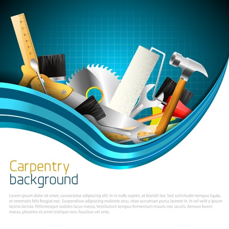 engineering tools: Modern carpentry background with copyspace