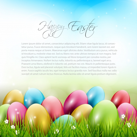 Easter background with colorful eggs in grass  Vector