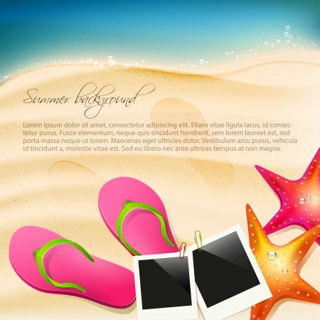 Beach with flip-flops, seastar and  photoframe Stock Vector - 20182663