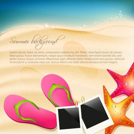 seastar: Beach with flip-flops, seastar and  photoframe