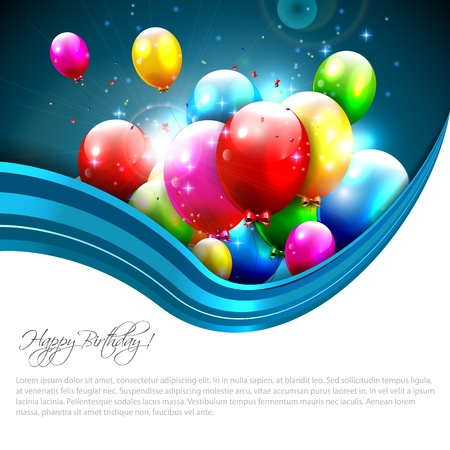 luxury party: Modern birthday greeting card with colorful balloons and copyspace