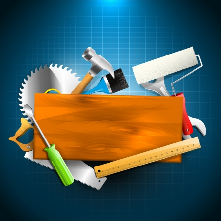 Carpentry background with hand tools and place for text Vector