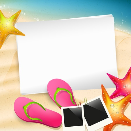 Summer background with empty paper Stock Vector - 20182673