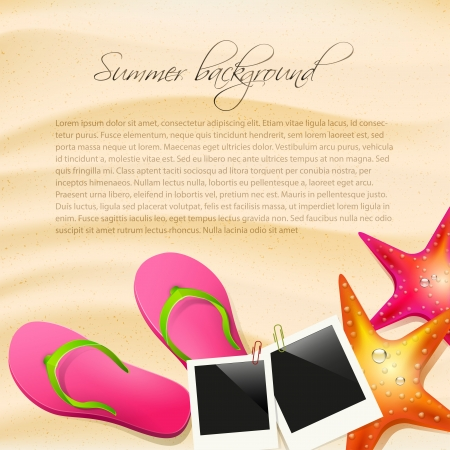 Sand with flip-flops, seastar and safety circle - summer background Stock Vector - 20182596