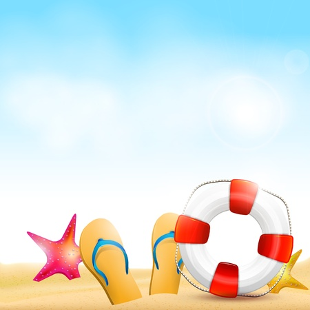 safety circle: Flip-flops and safety circle on the beach - summer background Illustration