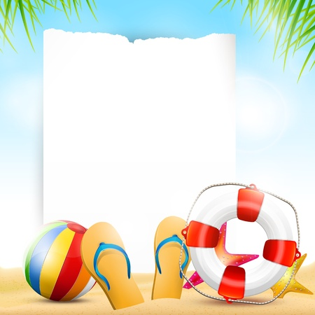 copyspace: Flip-flops and safety circle on the beach - summer background