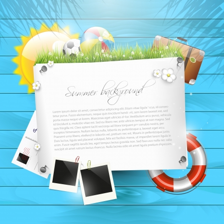 Summer background with empty paper Stock Vector - 20182677