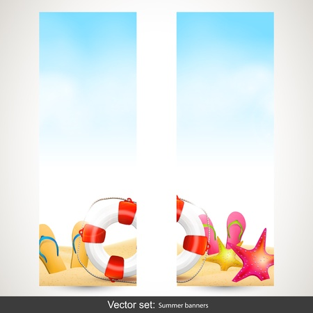 Set of two vertical summer beach banners Stock Vector - 20182685