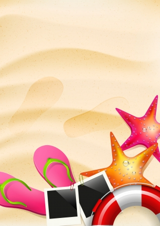 seastar: Sand with flip-flops, seastar and safety circle - summer background