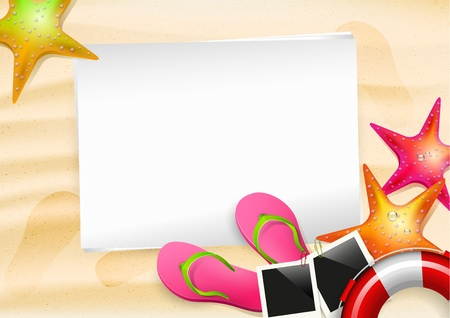 Summer background with empty paper Stock Vector - 20182656