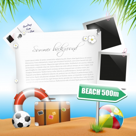 sunny beach: Summer holiday - background with copyspace Illustration