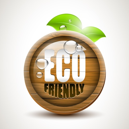 ECO friendly - glossy wooden icon Vector