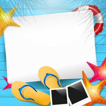 zomer: Zomer achtergrond met flip-flops, fotolijstje en leeg papier