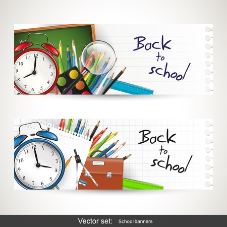 Back to school - set of two vector banners Vector
