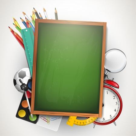 place for text: School supplies and chalkboard with place for text
