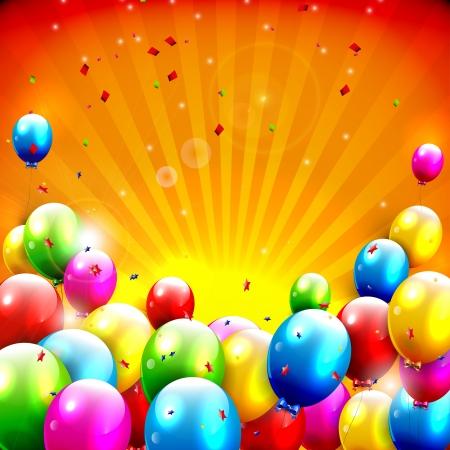 colour background: Flying colorful balloons on orange background Illustration
