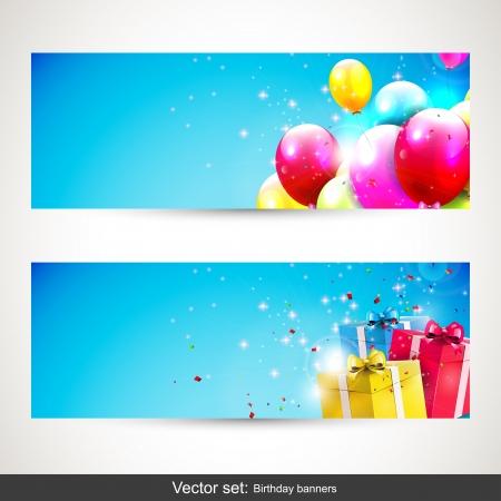 happy birthday party: Vector conjunto de dos pancartas de cumplea�os con globos dulces sobre fondo azul Vectores
