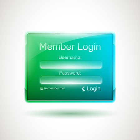 passwords: Green-blue glossy login window Illustration