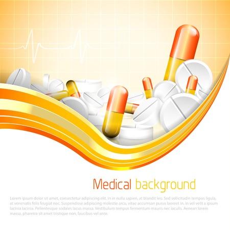 farmacia: Pillole e compresse su sfondo arancione Vettoriali