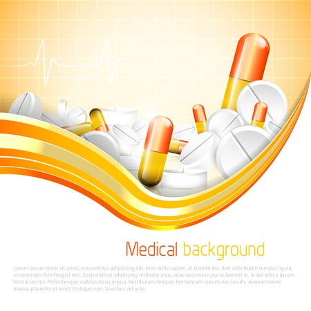 Pills and tablets on orange background Illustration