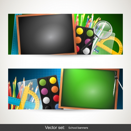 Set of school horizontal banners with copyspace Vector