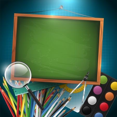 現代学校の背景に空の黒板、テキストのための場所