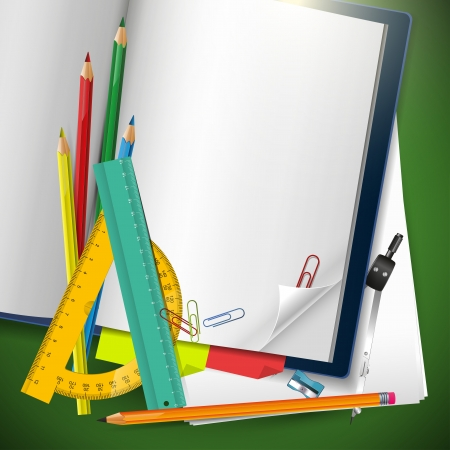 protractor: School supplies and empty notebook with copyspace Illustration