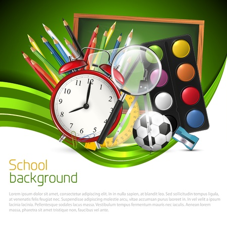 School background with school supplies and place for text