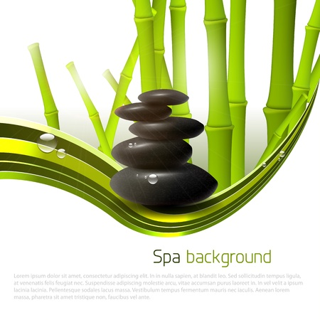 Spa background with stones, bamboo and copyspace Vector