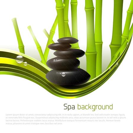 bambou: Spa fond avec des pierres, bambou et copyspace Illustration
