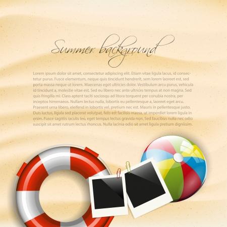 resor: Sommar bakgrund med säkerhet cirkel, fotoram och badboll