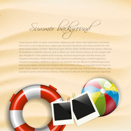 hawaii beach: Summer background with safety circle, photoframe and beach ball