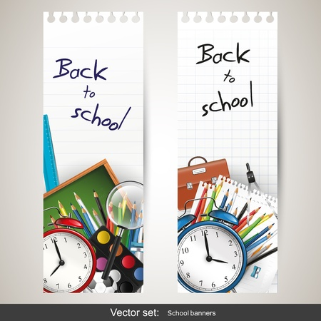vertical: Set of two banners with school supplies