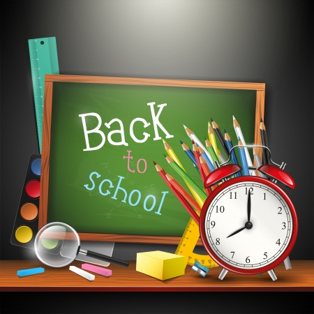Background with school supplies on the shelf Vector