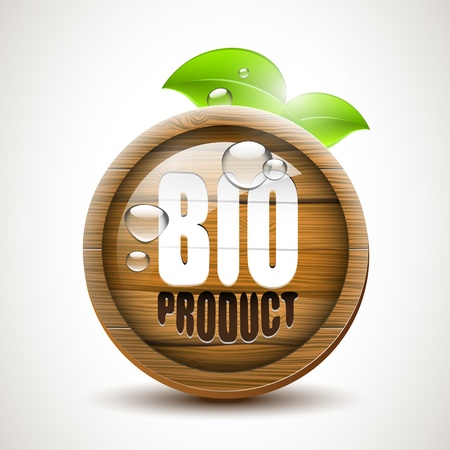 waterdrops: BIO product - Glossy wooden icon with fresh leaves and waterdrops