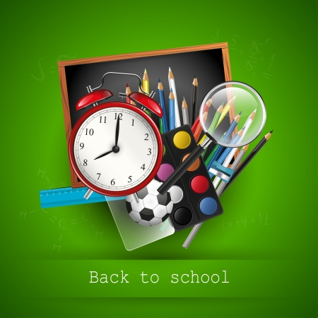 Colorful school supplies on green background Vector