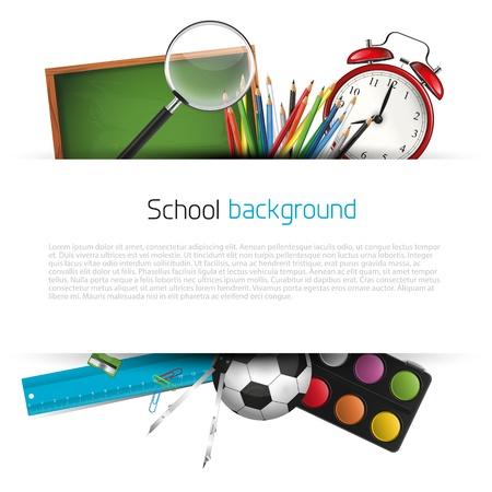 utiles escolares: Fuentes de escuela en el fondo blanco con el lugar de texto Vectores