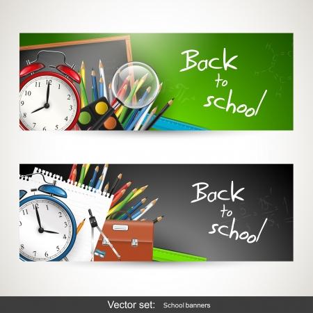 学校用品を持つ 2 つのバナーの設定  イラスト・ベクター素材