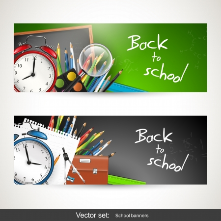 backgrounds: Set of two banners with school supplies