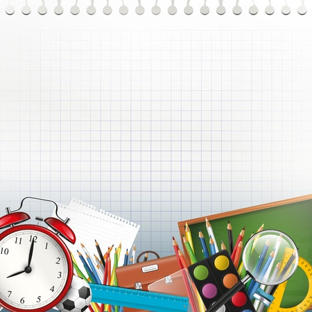 back to school: School supplies on white paper with copyspace
