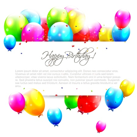 Verjaardagsballons op geïsoleerde achtergrond met plaats voor tekst Stock Illustratie