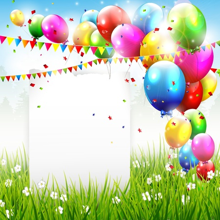 Flying balloons and paper with copyspace