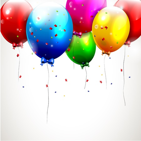 Colorful birthday background with flying balloons