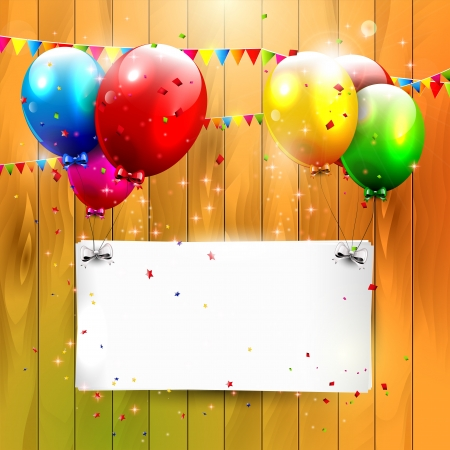Modern birthday balloons on wooden background Vector
