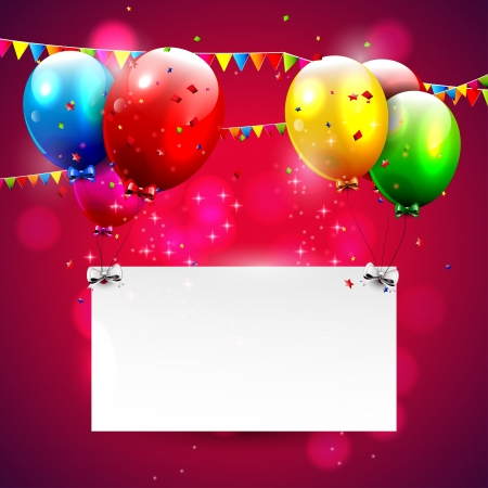 happy people: Modern red birthday background with place for text  Illustration