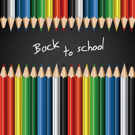 Barevné pastelky - zpět do školy na pozadí Ilustrace