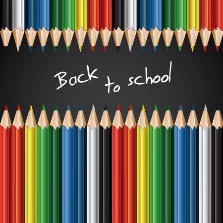niño escuela: Lápices de colores - de nuevo a fondo de la escuela